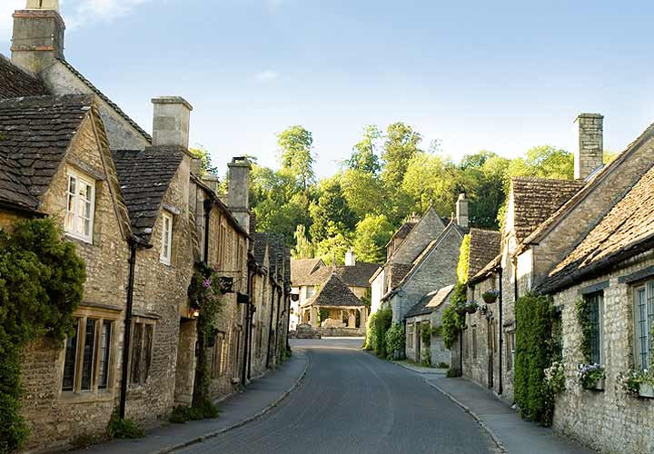 Looking up to the market cross in Castle Combe